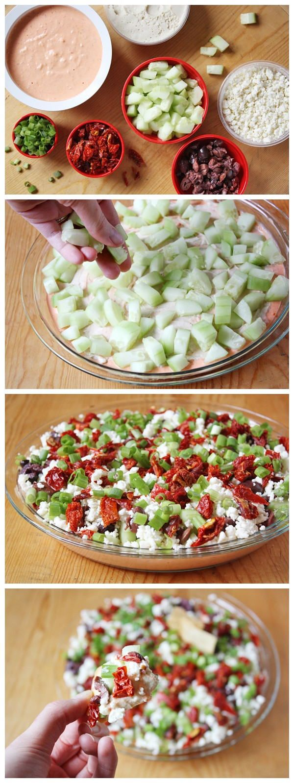 Greek 7-Layer Dip...I wouldn't do the olives but sounds yummy!
