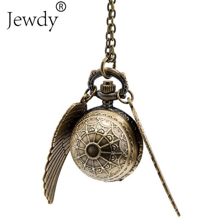 Ocean Movie Film Derivatives Vintage Happy Potter Golden Snitch Quartz Fob Pocket Watch Pendant With Sweater Necklace for Women