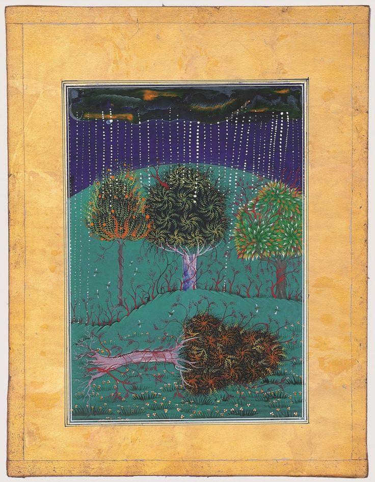 La serie 'Donde las sombras son tan profundas', del paquistaní Imran Qureshi, está realizada con técnicas escrupulosamente iguales a las usadas en el imperio mogol en el siglo XVI. Las obras, miniaturas de gran detalle, se completan con el dibujo directo sobre el suelo y paredes de manchas de sangre y vísceras que recuerdan la violencia