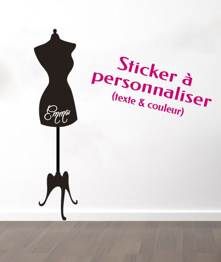 sticker mural personnalis mod le mannequin de couture un sticker personnalis. Black Bedroom Furniture Sets. Home Design Ideas
