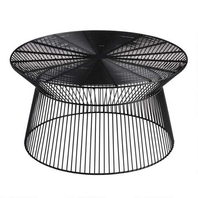 Round Black Metal Zeke Outdoor Coffee Table World Market In 2020 Outdoor Coffee Tables Black Coffee Tables Coffee Table