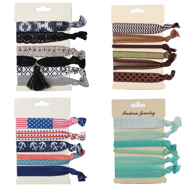 6 pcs/Set Girl Ponytail Holders Hair Ties Rope Pearls Tassel Printing Elastic Bracelets Hairband Gift
