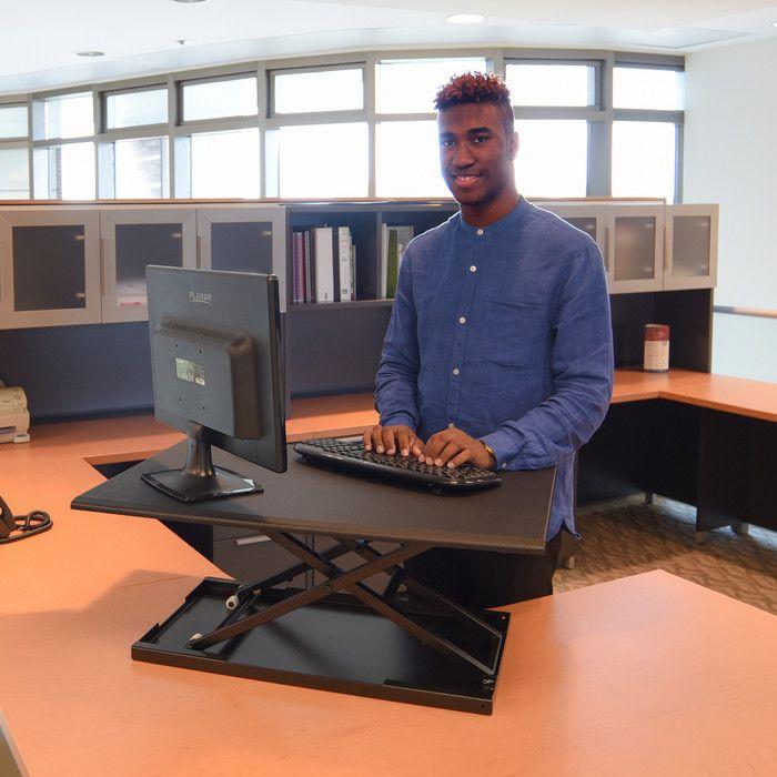 Luxor Pneumatic Adjustable Desktop Standing Desk & Reviews   Wayfair