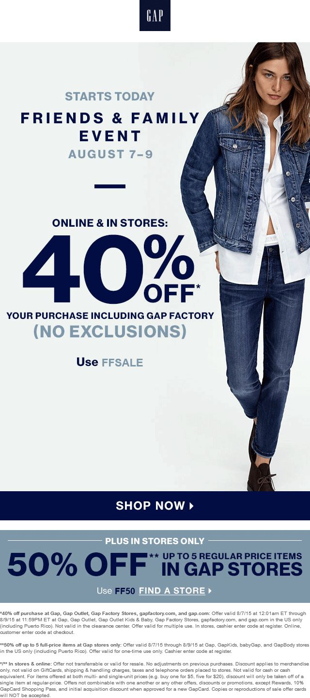 Pinned august 8th 40 50 off at gap gapoutlet factory
