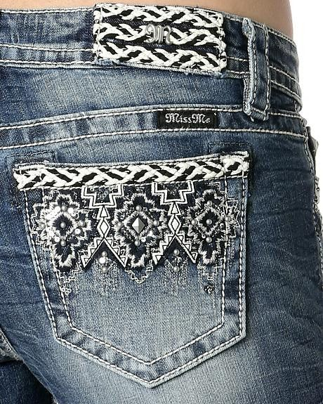 Miss Me Women's Aztec Embroidered Bootcut Jeans MP8658B