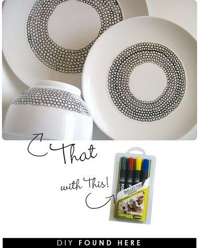 Once upon a time, having personalized china took either a lot of money or some serious painting skills. Now a days, however, anyone with a steady hand can decorate their dishes at home with pretty amazing results with Porcelain Pens. Whether you want a simple pattern or something a little more complicated, these draw and bake projects are a great place to look for inspiration!