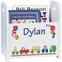 Personalized Book Storage Caddy Magazine Rack - Boy's
