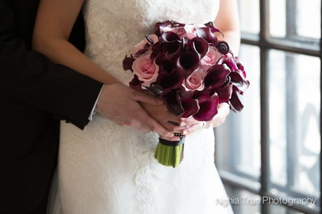 Real Wedding by Divine Weddings & Events . Somsamay and Jason . Bouquet by Little Flower Shop of plum calla lilies, fiddle heads and blush roses.  Photo by Nghia Tran Photography.