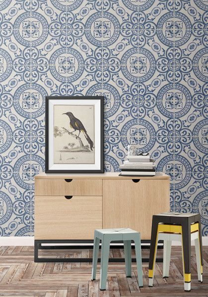Perfect for kitchen and living areas this wallpaper is a spirited faux tile pattern. It's Mediterranean vibe is sure to renew and refresh your chosen space. Thi