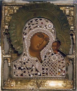 Вышитая жемчугом икона из Собора Василия Блаженного