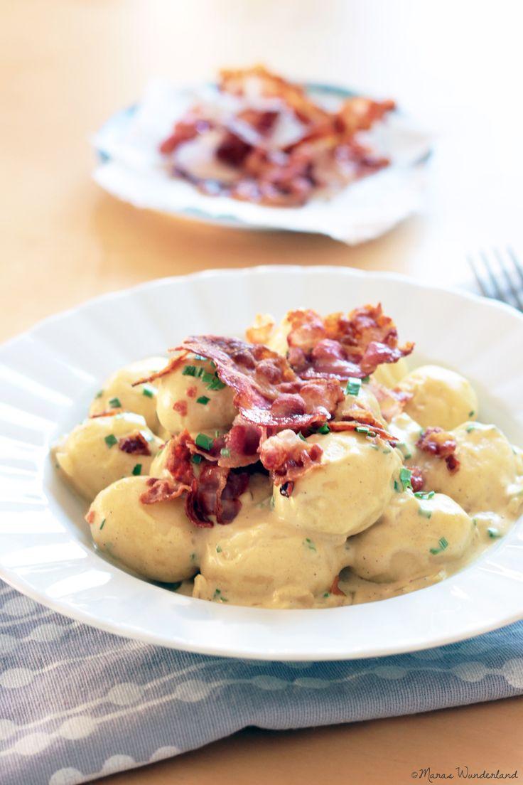 Gnocchi in Senfsahne. Schnell zubereitet in nur einem Topf und einer Pfanne und mit wenigen Zutaten. Mit Kochsahne auch figurfreundlich.