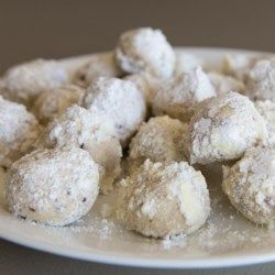 Mexican Wedding cookies... I know there's a bunch of recipes for wedding cookies/russian tea cakes... THIS is the one you want to use. ... I use salted butter and skip the addition of salt with the sugar. I also only use 2tsp of vanilla. Mine are perfect when baked for 11 mins. Sift powdered sugar on them after they've cooled for 2 mins, and then again after they have cooled completely.