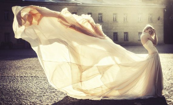 Long Wedding Dress with Very Long  Puddle by ApilatCreativeAtelie, $4000.00