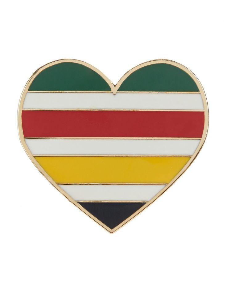 HBC Collections | I Heart Canada Multi Stripe Heart Pin | Hudson's Bay