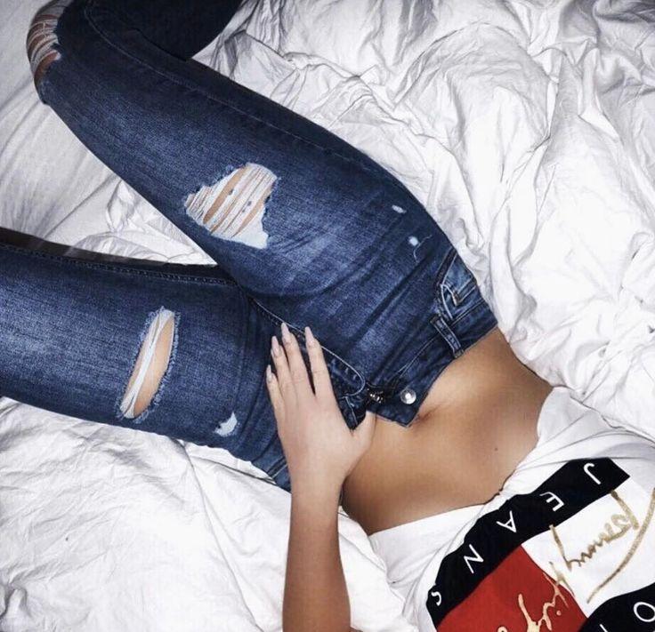 Vicky Pattison Wearing our Dark Blue Ripped & Repaired Women's Jeans -  #hera #heralondon #skinnyjeans #denim #womenswear