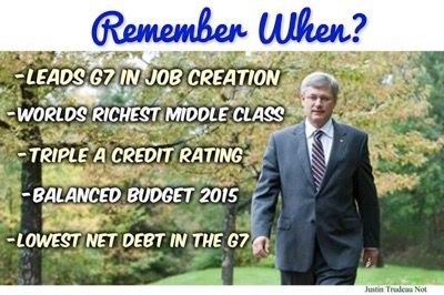 """Remember when Canada wasn't the laughing stock and we were actually respected? Those were the real """"sunny ways"""""""