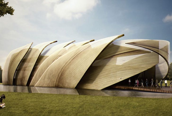 Mexico's pavilion for the World Expo beautifully mimics the shape of overlapping dried corn husks!