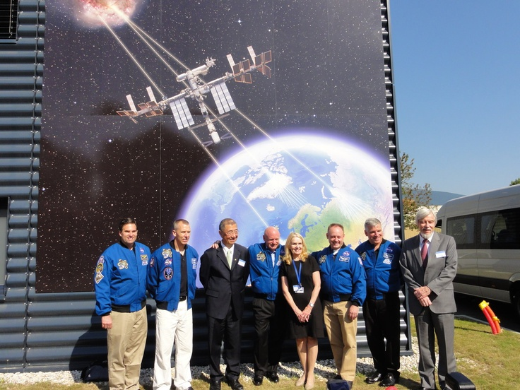Group picture of the STS-134 crew  in front of the AMS control room at CERN (POCC) for the 1 year in space anniversary of AMS-02 #CERNTweetup  (credit: HAP / A.Chantelauze)