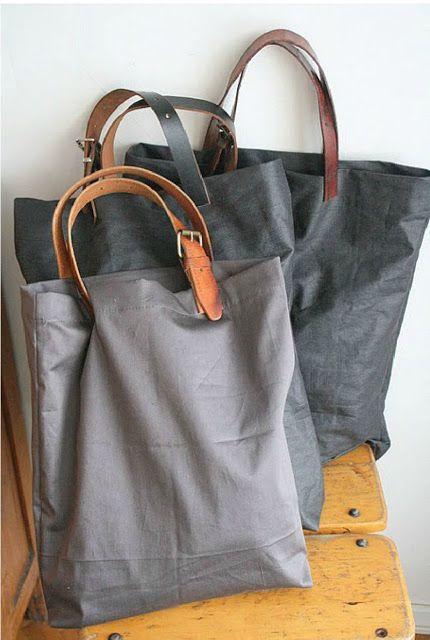 OLD Leather Belt plus Pillow Case becomes a new tote bag DIY Tutorial - http://sunsetgurldesign.typepad.com/weblog/2011/02/valkoista-pellavaa.html