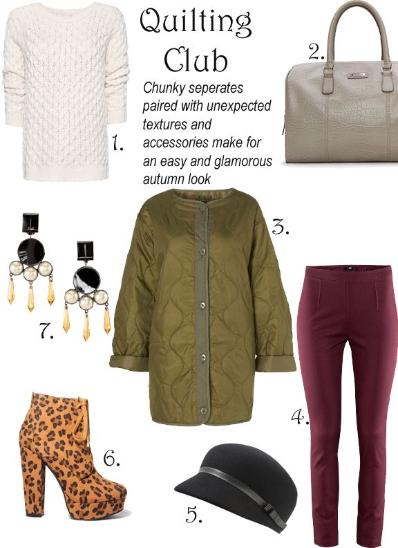 1. Zigzag Cable Cord Jumper; Mango.com, $69.99 2. Croc Effect Bowling Bag; Mango.com, $69.99 3. Collarless Quilted Lining Jacket; TopShop, $96 4. Burgundy Pants; HM, $12.95 5. Wool Cap; Forever 21, $15.80 6. Leopard Lace-Up Booties; Forever 21, $34.80 7. Earrings; HM, $9.95