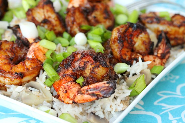 Grilled Shrimp With Brown Butter and Rice: Great for summer grilling.: Butter Rice, Brown Rice, Tummy Yummy, Yummy Meat Seafood, Rice Food, Halogen Ovens Recipes, Butter Grilled, Brown Butter, Grilled Shrimp