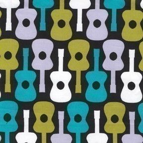 Michael Miller Groovy Guitar Lagoon Fabric   I want to make some outfits for the kiddos with this.