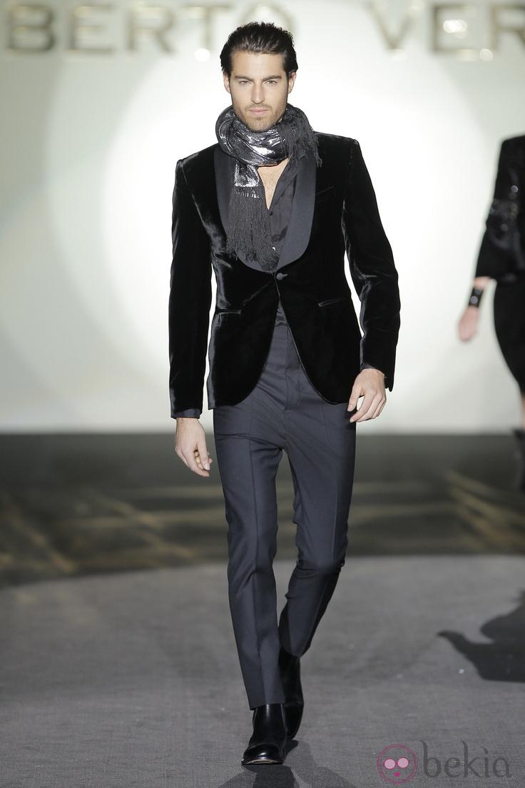 Fresh take on evening wear for men (minus the silver lamè scarf). Menswear, tux, suit, male fashion