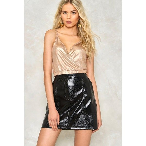Nasty Gal Down Tonight Metallic Crop Top ($30) ❤ liked on Polyvore featuring tops, rose gold, racerback crop top, v-neck top, strappy top, strap crop top and wrap crop top