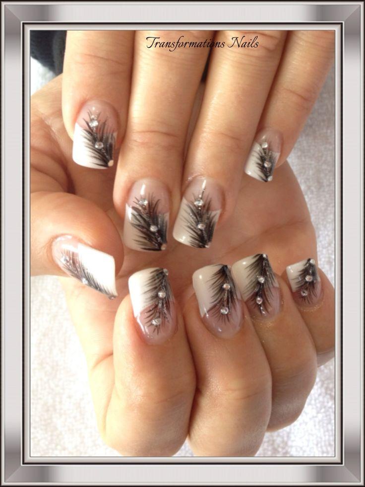 #feather nails #diamond nails #french nail.