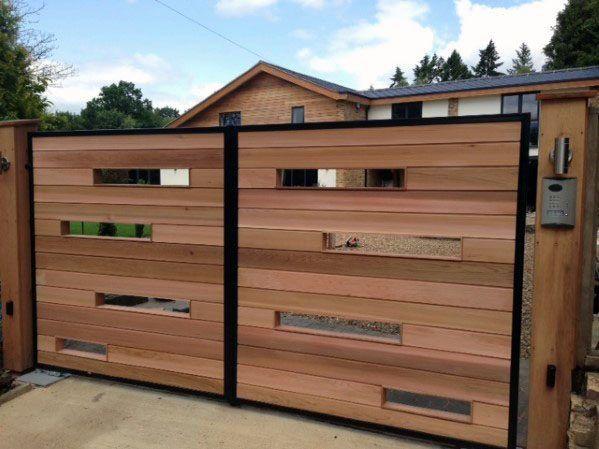 Top 40 Best Wooden Gate Ideas Front Side And Backyard Designs Entrance Gates Design Gate Designs Modern Modern Gate