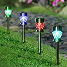 Maggift Solar Pathway Lights Diamond Glass Solar lights Outdoor Color Changing Stainless Steel Solar Garden Lights, Set of 4
