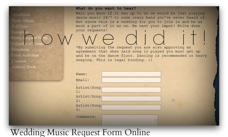 Wedding Websites Ideas: Wedding Website Wording For Music Request Forms This Would