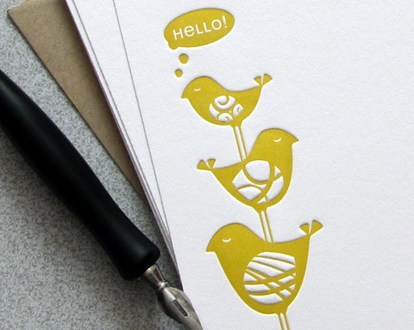 Bird Stack Letterpress Flat Note Card Set