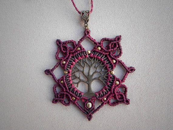 Amethyst Necklace 'LAKSHMI', Micro Macrame, Bohemian Jewelry, Boho Necklace, Healing Stone, Spiritual Jewelry, Tribal Ethnic Festival Wear