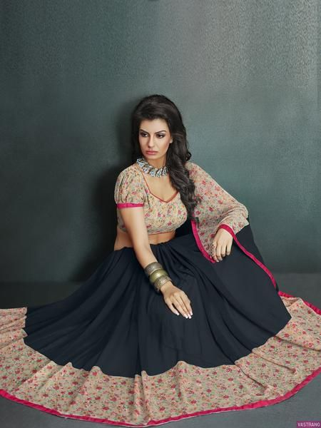 LadyIndia.com #Lace & Border Sarees, Designer Lace Work Printed Black Broad Border Saree, Lace & Border Sarees, https://ladyindia.com/collections/ethnic-wear/products/lace-border-black-georgette-all-over-saree