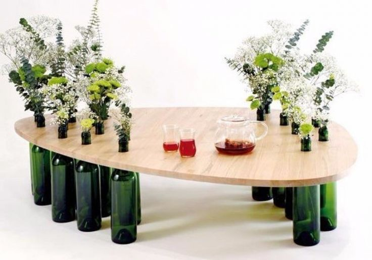 a table of wine bottles