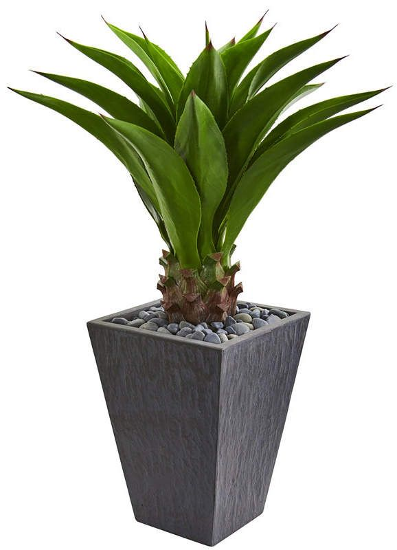 Nearly Natural Agave Artificial Plant In Slate Finished Planter Artificial Plants Artificial Garden Plants Plants