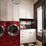 Laundry Room Ideas, Refreshing Maroon Red Washer Color Laundry Room Design Ideas Balancing Pale Grey White Wall Paint Chess Board Floor: planner laundry room design ideas layout