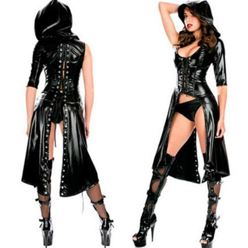 Sexy-PVC-Leather-Lingerie-Clubwear-Ladies-Jumpsuit-Catsuit-Coat-Lace-up-Clubwear