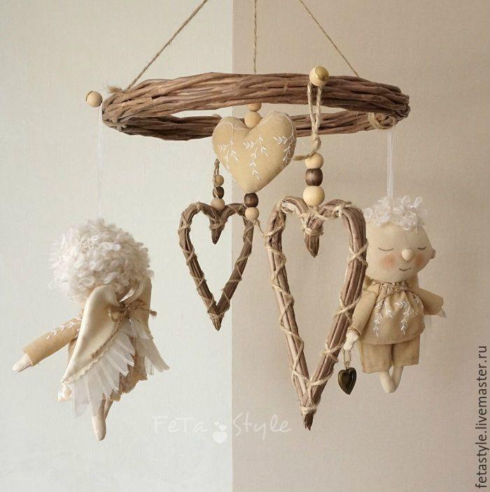 Купить Мобиль для детской комнаты с ангелами и сердечками - ангел, ангел тильда, ангелы, ангел в подарок