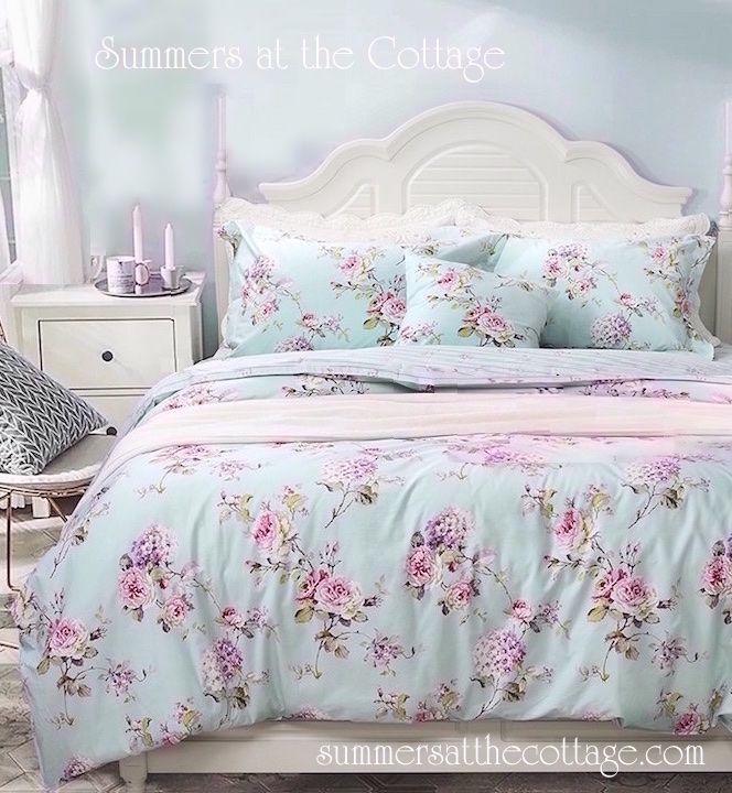 Aqua Mint Pink Vintage Roses Duvet Comforter Cover Set Chic