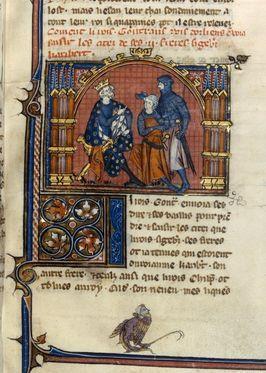 Gontran et les chefs militaires.- GONTRAN, 2) DESCENDANCE, 2: *Epouse v. 567 AUSTREGILDE surnommée BOBILLA (+ 580), une servante franque de Marcratude. Seront issus de l'union: CLOTAIRE (v. 567- +577), mort de la peste. CLODOMIR (v. 569- + 577), mort de la peste. CLOTILDE (v. 573 - + v. 600) célibataire. CLODEBERGE (v. 575- +?).