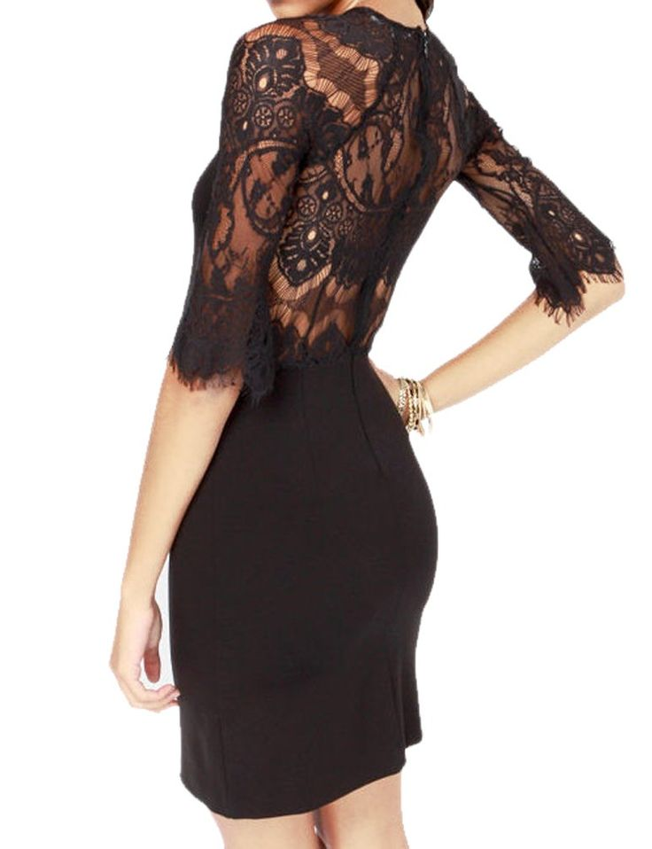 Mantos Eternity Women's Half Sleeves Sheer Back Slim Lace Clubwear Cocktail Dress: