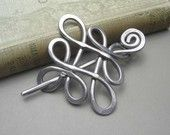 Looping Celtic Crossed Knots Shawl Pin, Scarf Pin, Sweater Brooch, Hair Pin, Barrette - Aluminum - Knitting Accessories