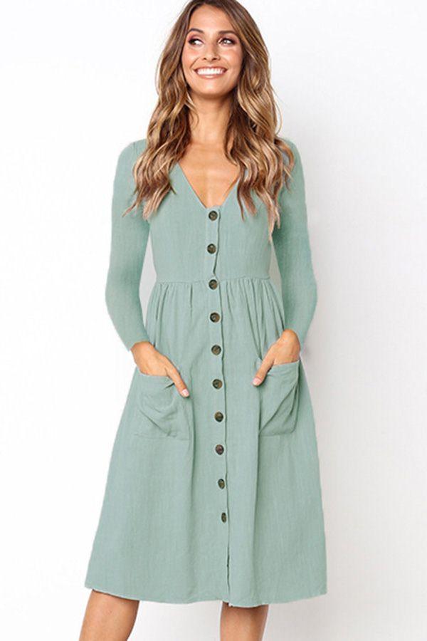 Light Green Long Sleeve V Neck Pocket Button Up Casual A Line Dress Long Sleeve Short Dress Light Green Dress Long Sleeve Casual Dress