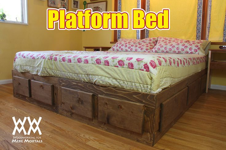 Platform bed with lots of storage. Free how-to video and free plans.