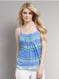 Bold Striped Pleated-Neck BodyShaper