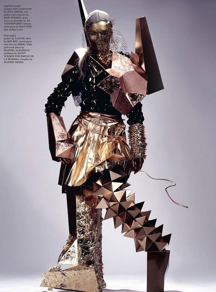 Andrej Pejic is photographed by Anthony Maule for the April 2011 issue of Dazed. Andrej is transformed into human sculpture with the help of Gary Card's incredible costume pieces.