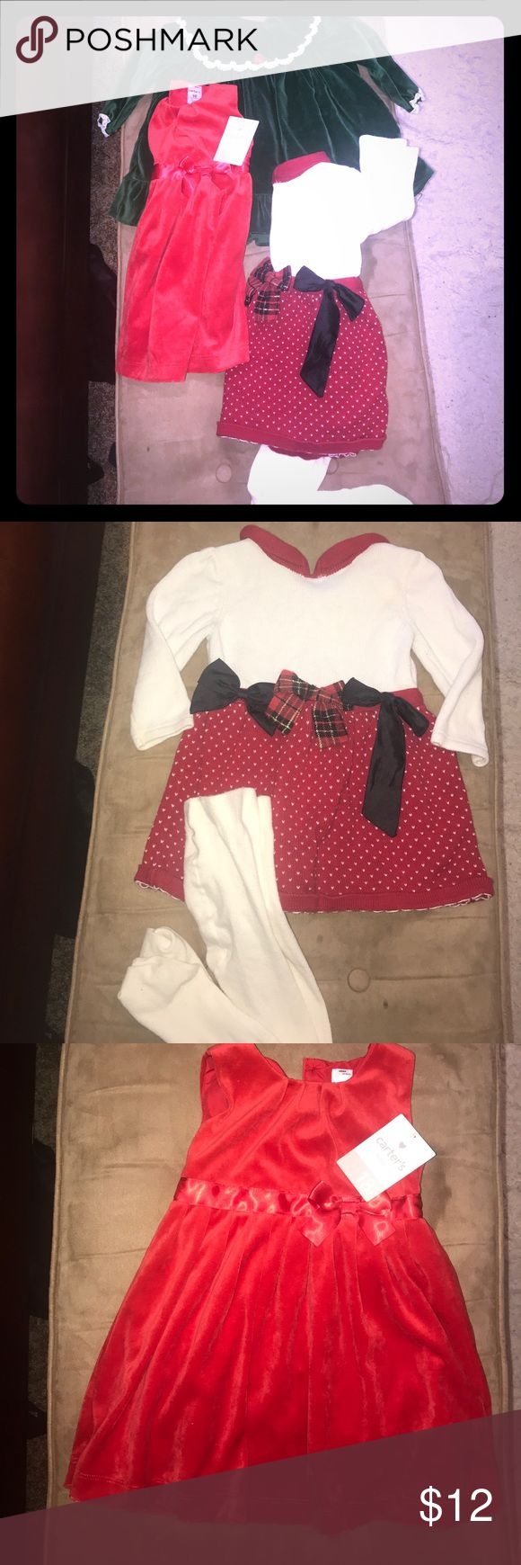 3 Piece Baby Girl Holiday Dress Bndl. Sz 18-24m! Bundle of 3 baby girl holiday party dresses. Red dress new with Carters tag attaches, the green dress is vintage, and the red/white Sweater dress comes with matching tights. All in excellent condition! Carter's Dresses