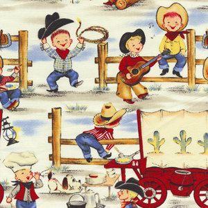 Michael Miller Lil Cowpokes Retro Cowboy Western by cottagefabrics, $9.25